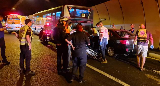 זירת התאונה במנהרות הכרמל